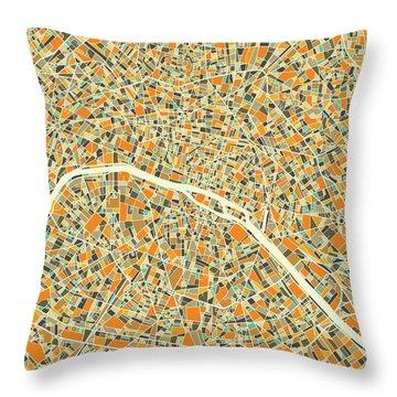 Paris Map 1 Throw Pillow