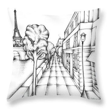 Paris On The Seine Throw Pillow