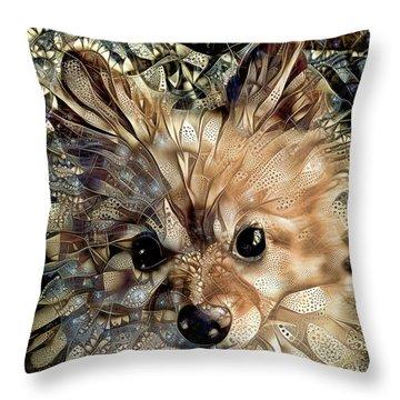 Paris The Pomeranian Dog Throw Pillow