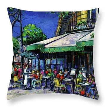 Parisian Cafe Throw Pillow