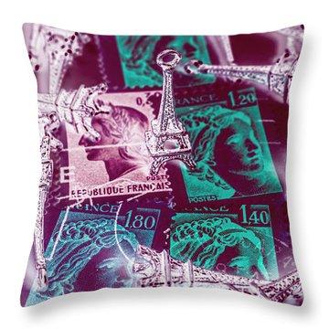 Parisian Postmarks Throw Pillow