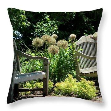 Park Benches At Chicago Botanical Gardens Throw Pillow