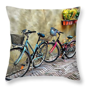 Throw Pillow featuring the photograph Parked Together Pienza by Dorothy Berry-Lound