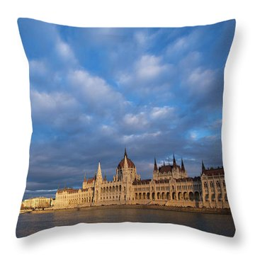 Parliament On The Danube Throw Pillow