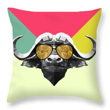 Party Buffalo In Glasses Throw Pillow