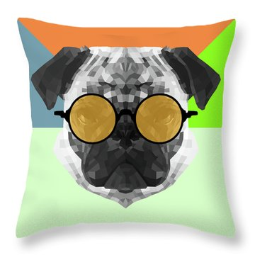 Party Pug In Yellow Glasses Throw Pillow