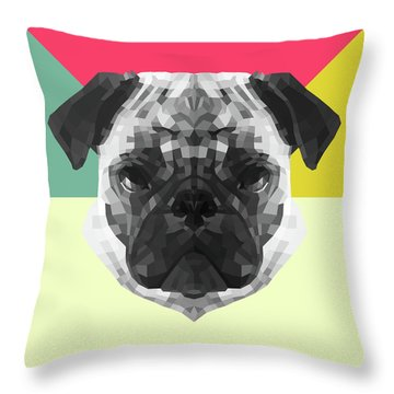 Party Pug Throw Pillow