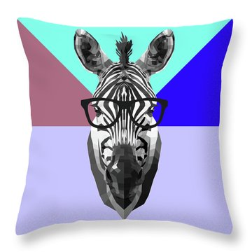 Party Zebra In Glasses Throw Pillow