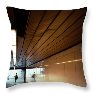 Passengers In A Hurry At The End Of A Tunnel At The Entrance To The Metro Station. Throw Pillow