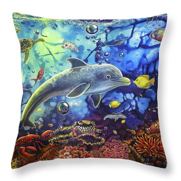 Past Memories New Beginnings Dolphin Reef Throw Pillow