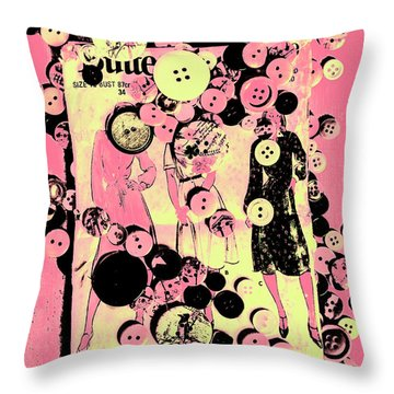 Past Patterns And Bygone Buttons Throw Pillow