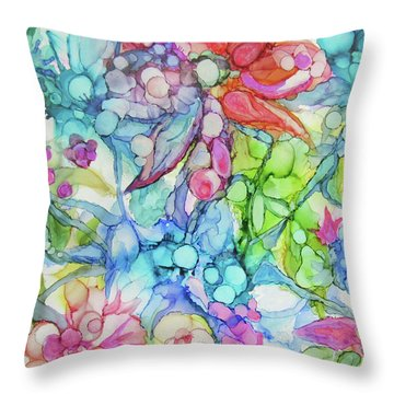 Pastel Flowers - Alcohol Ink Throw Pillow