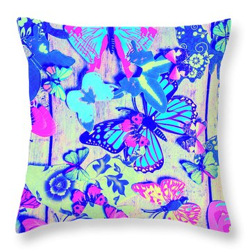 Pastel Wings And Button Butterflies Throw Pillow