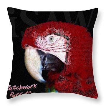 Patchwork Parrot Throw Pillow