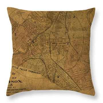 Paterson New Jersey Vintage City Street Map 1893 Throw Pillow