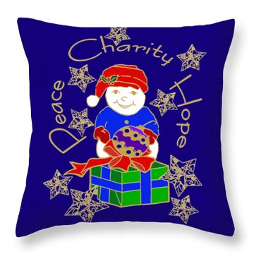 Throw Pillow featuring the mixed media Peace Charity Hope by Belinda Landtroop