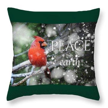 Peace On Earth W/cardinal Throw Pillow