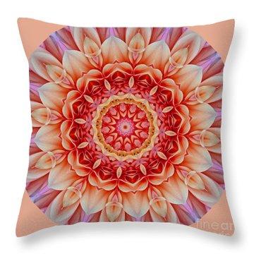Peach Floral Mandala Throw Pillow