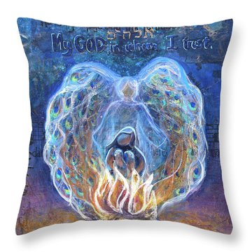 Peacock Angel Throw Pillow