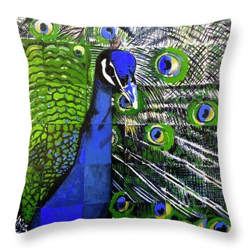 Throw Pillow featuring the painting Peacock by Dustin Miller