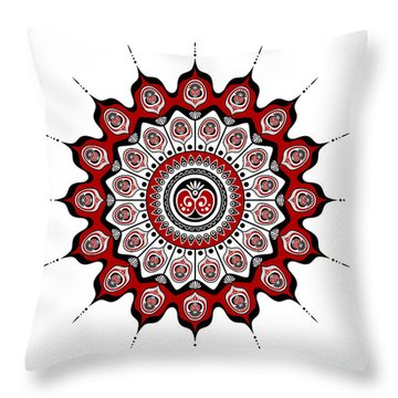 Peacock Feathers Mandala In Black And Red Throw Pillow