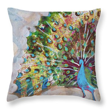 Peacock In Morning Mist Throw Pillow
