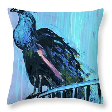 Peacock On A Fence Throw Pillow