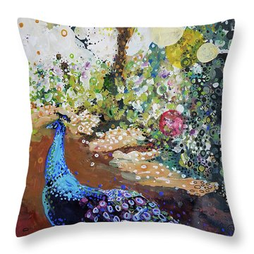 Peacock On Path Throw Pillow