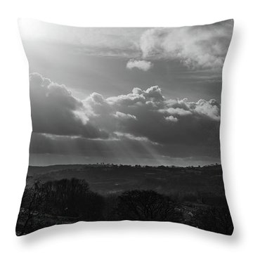 Peak District From Black Rocks In Monochrome Throw Pillow