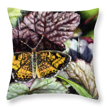 Pearl Crescent On Coral Bells Throw Pillow
