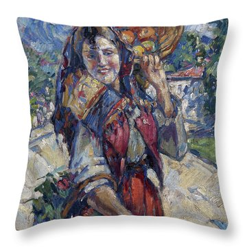 Peasant Girl With Fruit And Flowers Throw Pillow