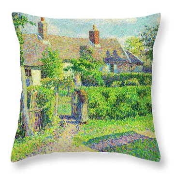 Peasants' Houses, Eragny - Digital Remastered Edition Throw Pillow