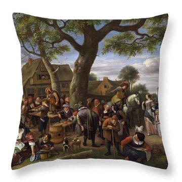 Peasants Merrymaking Outside An Inn, Fair At Warmond Throw Pillow