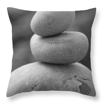 Pebbles In Black And White Throw Pillow