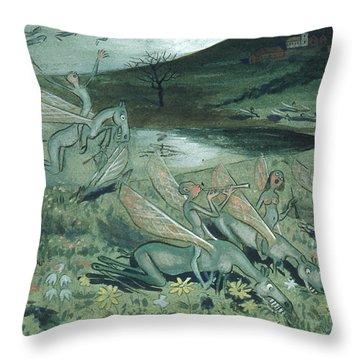 Throw Pillow featuring the drawing Pegasus Vulgaris by Ivar Arosenius