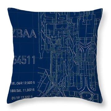 Pek Beijing Capital Airport Blueprint Throw Pillow