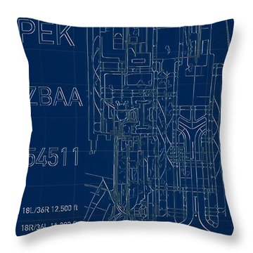 Pek Beijing Capital Airport Blueprint Throw Pillow