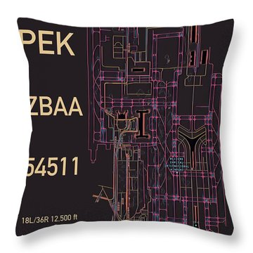 Pek Beijing Capital Airport Throw Pillow