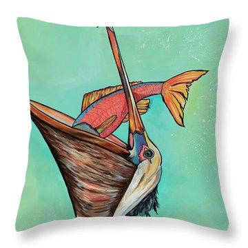 Pelican On The Edge Throw Pillow