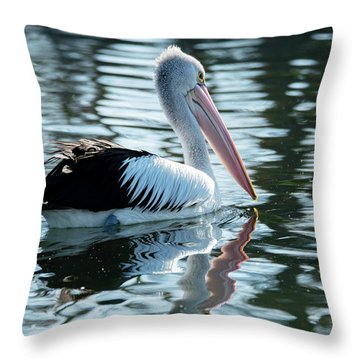Pelican On The Lake Throw Pillow