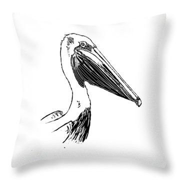 Pelican On Waves Throw Pillow