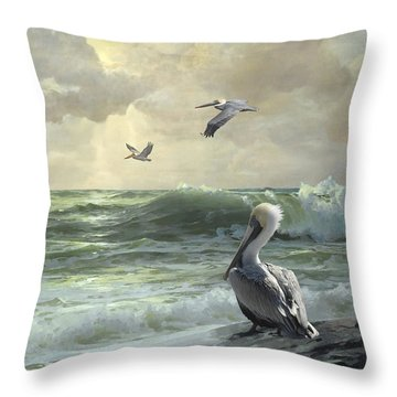 Pelicans In The Surf Throw Pillow