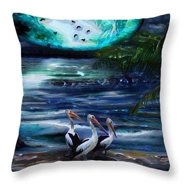 Pelicans On The Shore Throw Pillow