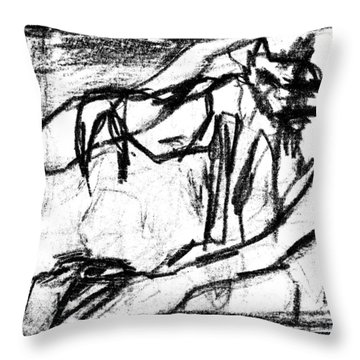 Pencil Squares Black Canine B Throw Pillow