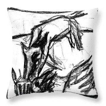 Pencil Squares Black Canine F Throw Pillow
