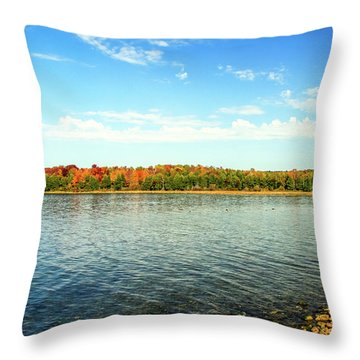 Peninsula Shore In Fall Throw Pillow