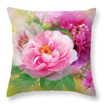 Peonies And Butterfly Throw Pillow