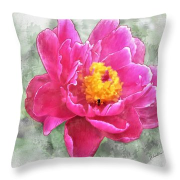 Peony And Bee Throw Pillow