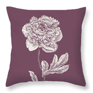 Peony Purple Flower Throw Pillow