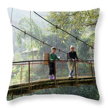 People And Children From Sapa, Mountainous Area Of Northern Vietnam In Their Daily Life. Throw Pillow